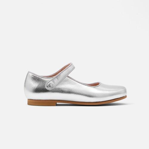 Pantofi piele metalizata Mary Jane fete