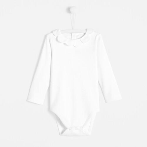 Toddler girl bodysuit with petal collar