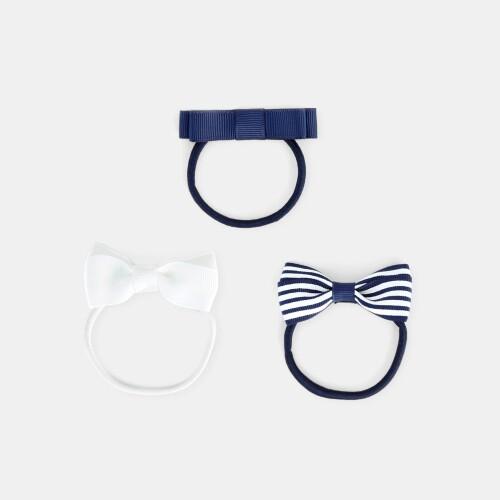 Girl bow hair tie trio
