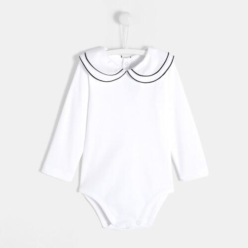 Toddler girl bodysuit with double collar