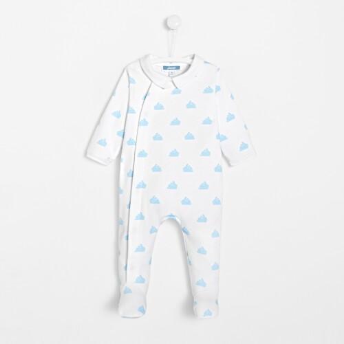 Pijama cu picioruse pentru baieti cu iepurasi