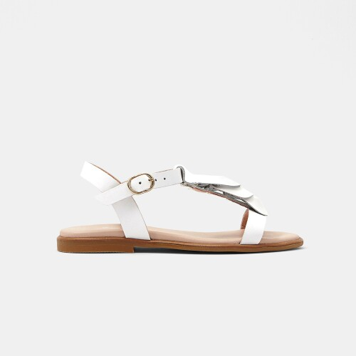 Girl iridescent leather sandals