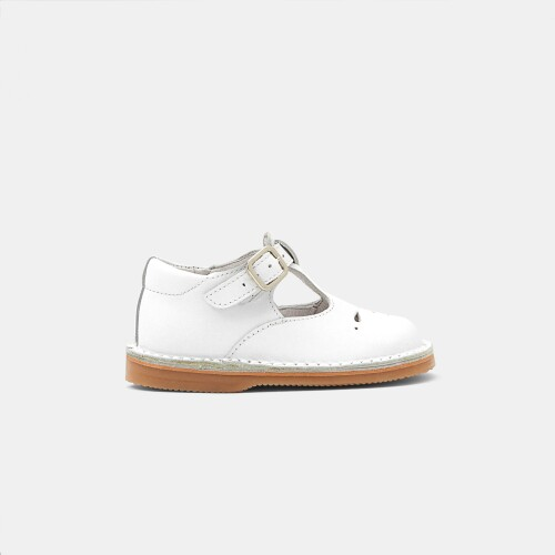 Unisex smooth leather t-strap shoes