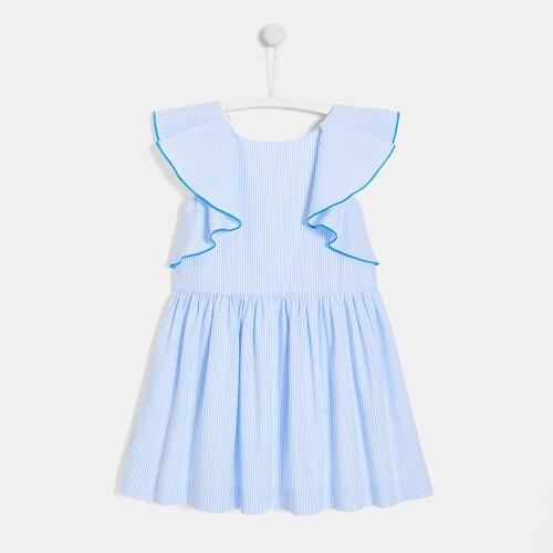 Girl dress with narrow stripes