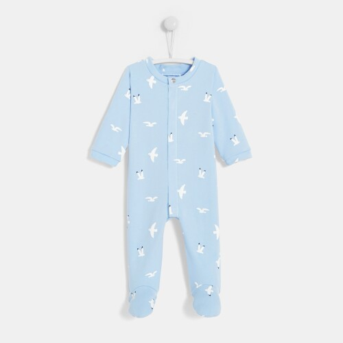 Baby boy footed pajamas with seagull print