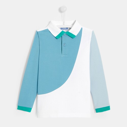 Boy color block polo shirt