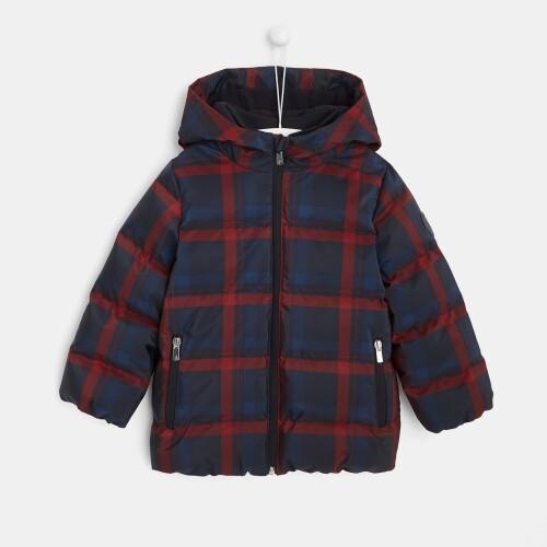 Boy checked puffer jacket