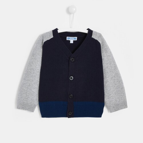 Toddler boy color block cardigan