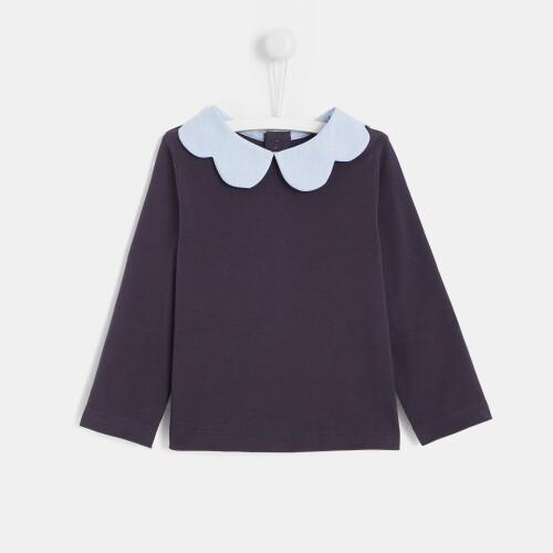 Toddler girl T-shirt with petal collar