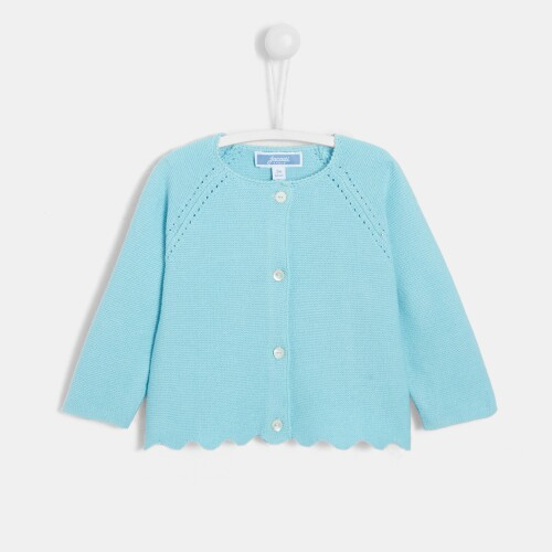 Baby girl cardigan with scalloped details