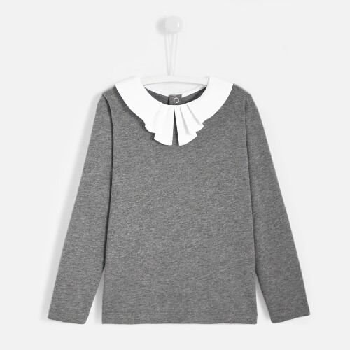 Girl t-shirt with pleated collar