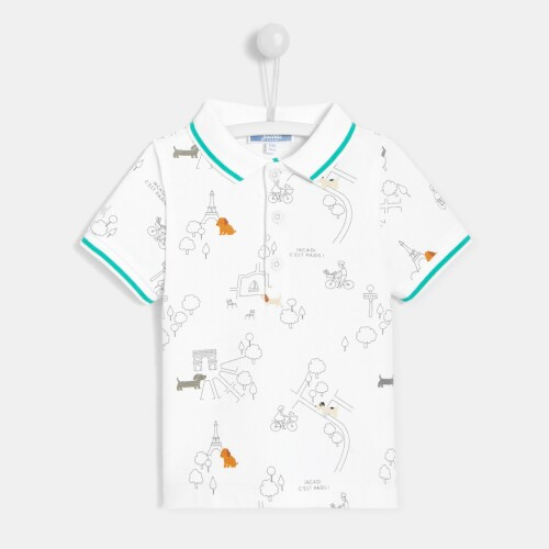 Toddler boy illustrated polo shirt
