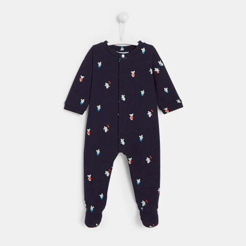 Baby boy footed pajamas with mouse print