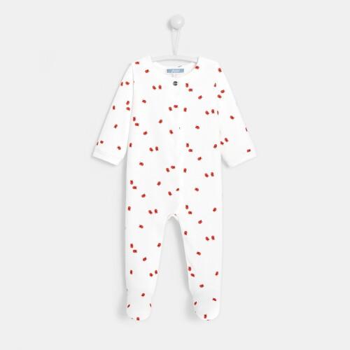 Baby girl bird print footed pajamas