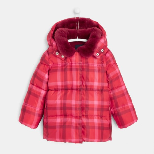 Girl checked puffer jacket