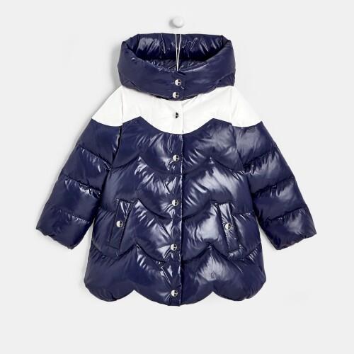 Girl color block puffer jacket