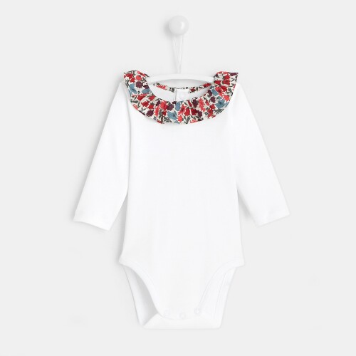 Baby girl bodysuit with Liberty print frilled collar