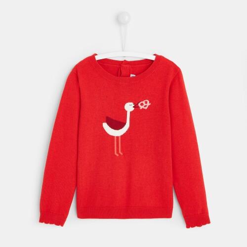 Girl Intarsia stork sweater