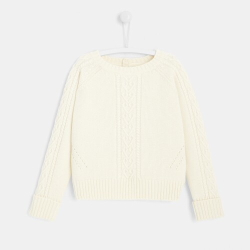 Girl cable-knit sweater
