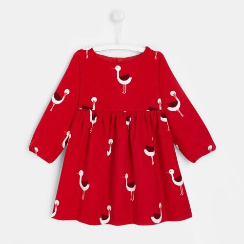 Toddler girl dress with stork print