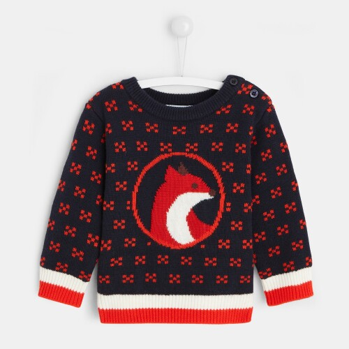 Toddler boy Intarsia fox sweater