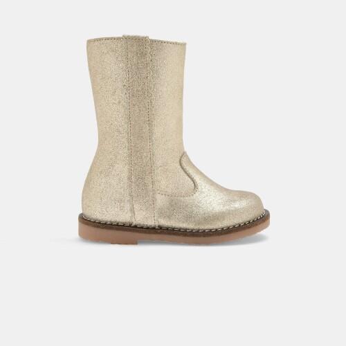 Baby girl metallic leather boots
