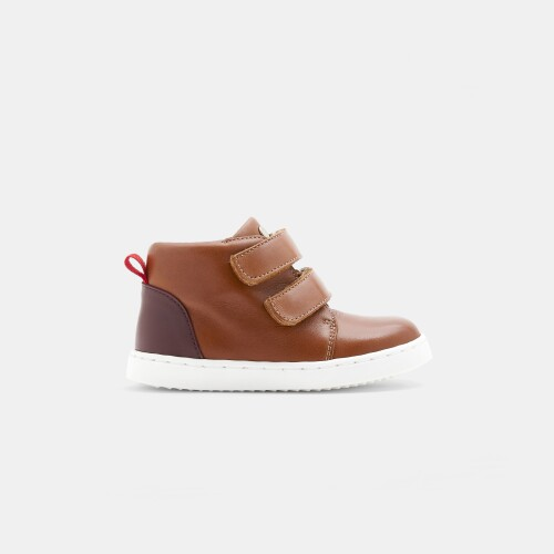 Baby boy smooth leather high-top sneakers