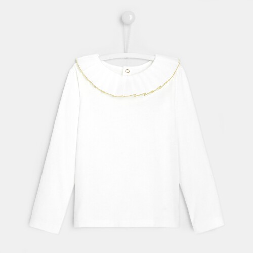 Girl t-shirt with frilled collar