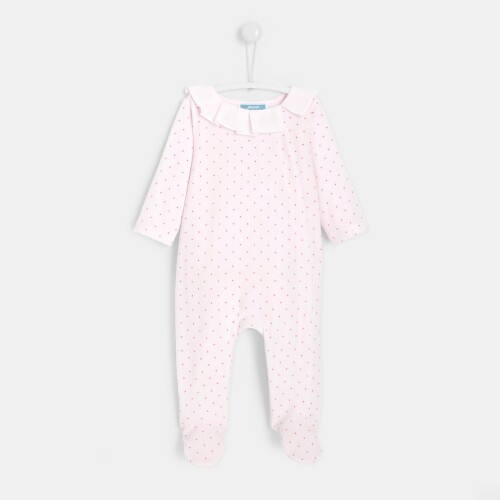 Baby girl polka dot print footed pajamas