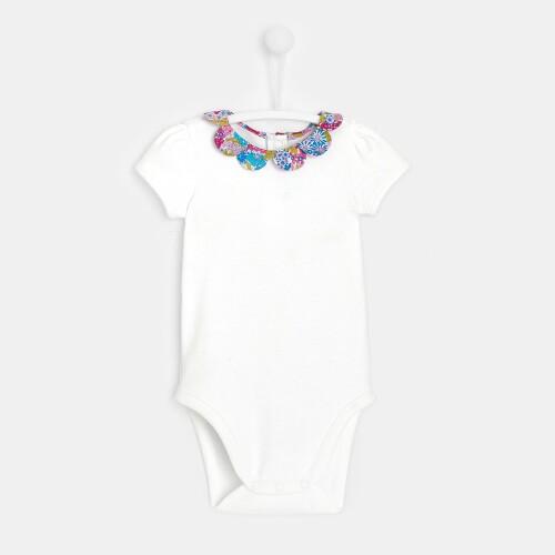 Baby girl bodysuit with Liberty print collar