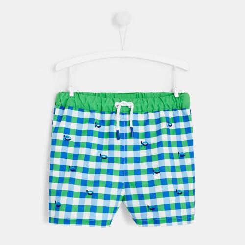 Boy checked swim trunks