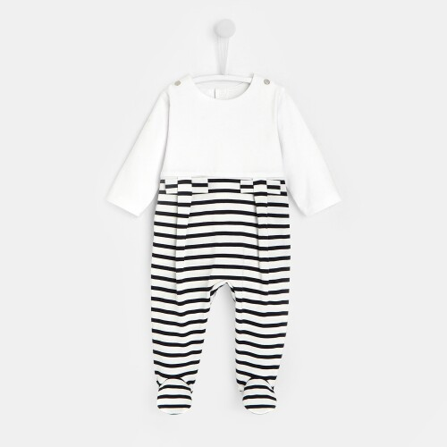 Baby girl striped footed pajamas