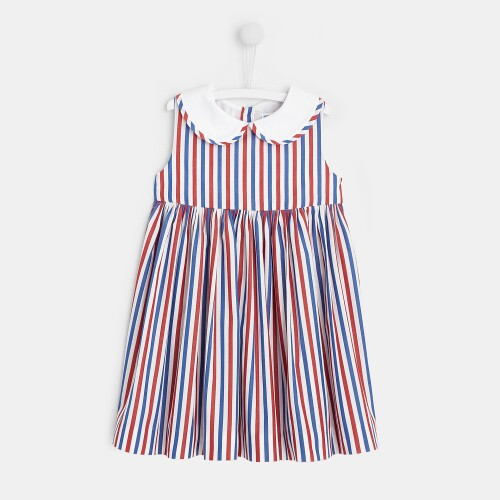 Toddler girl three-color striped dress