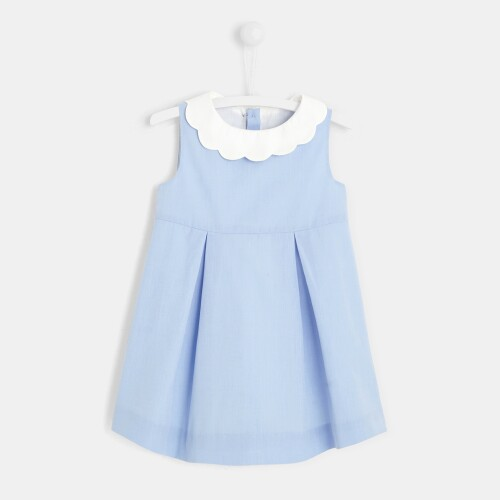 Toddler girl dress with scalloped collar