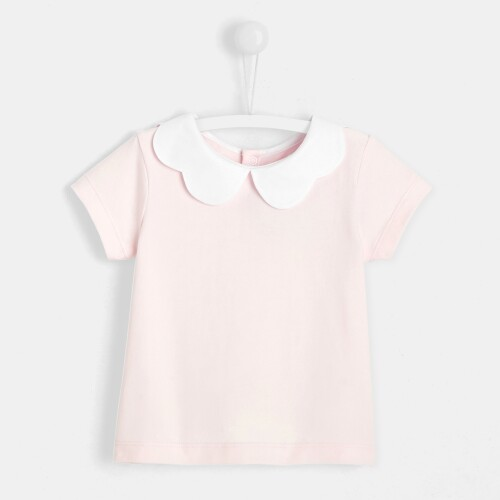 Toddler girl T-shirt with scalloped collar