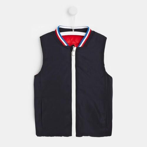 Toddler boy sleeveless reversible puffer jacket