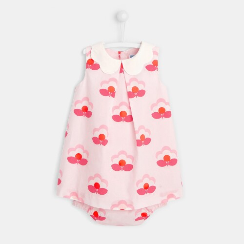 Toddler girl dress with lily pad motif