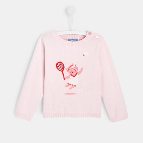 Toddler girl Intarsia cat sweater