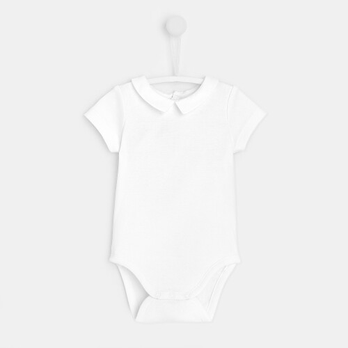 Baby boy poplin collar bodysuit