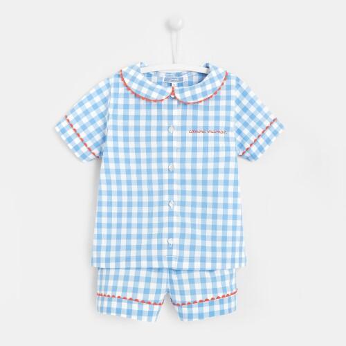 Girl gingham short pajamas