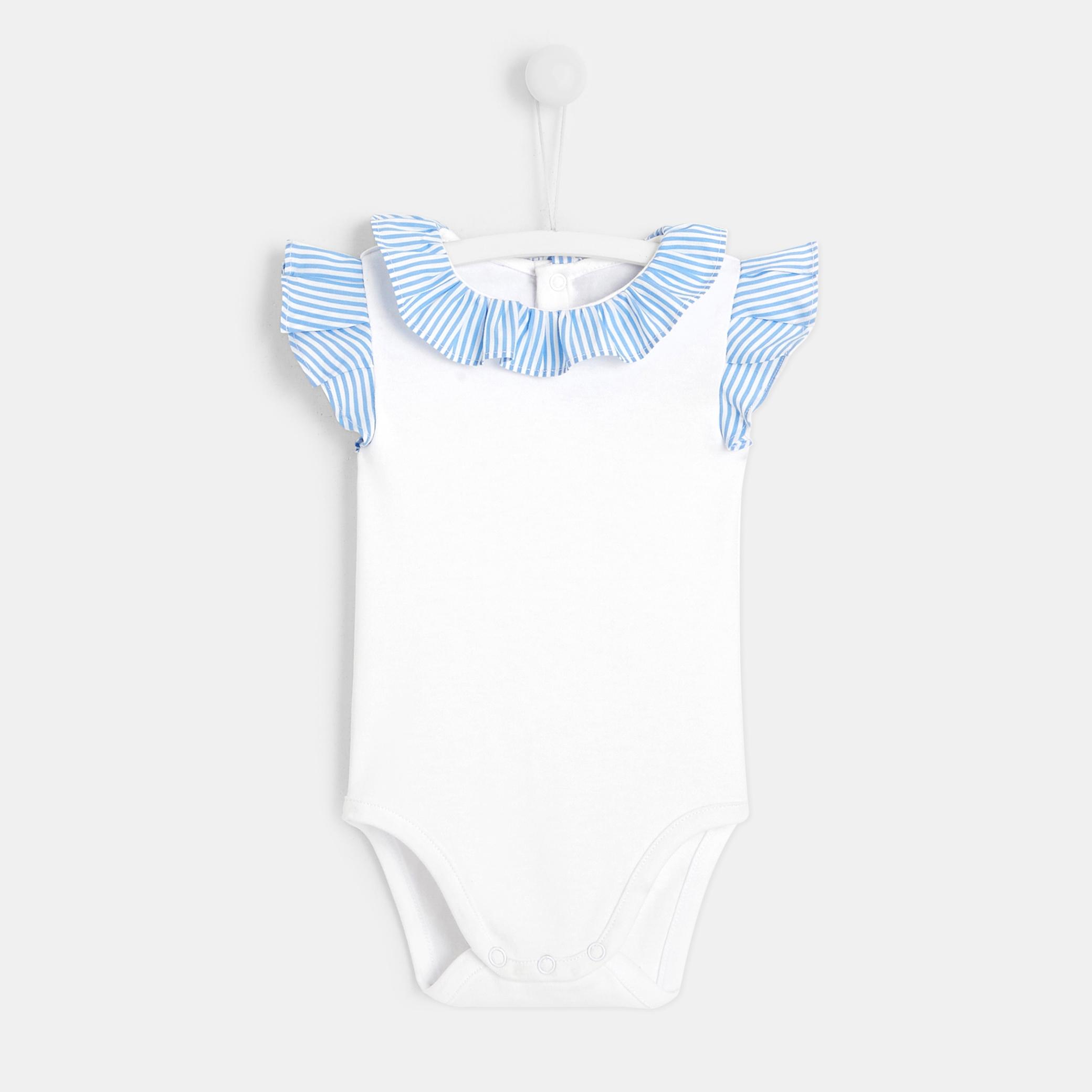 Baby girl bodysuit with ruffled sleeves