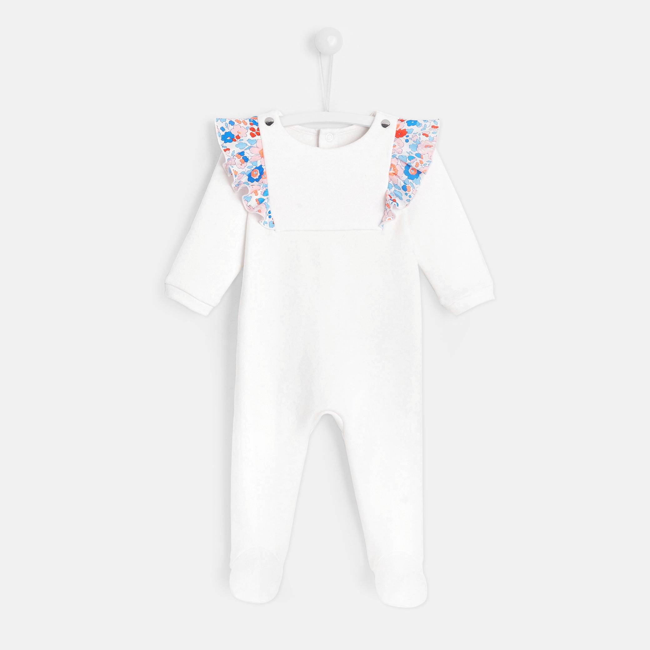 Baby girl footed pajamas with ruffles