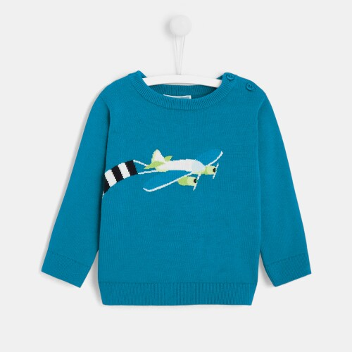 Toddler boy Intarsia plane sweater