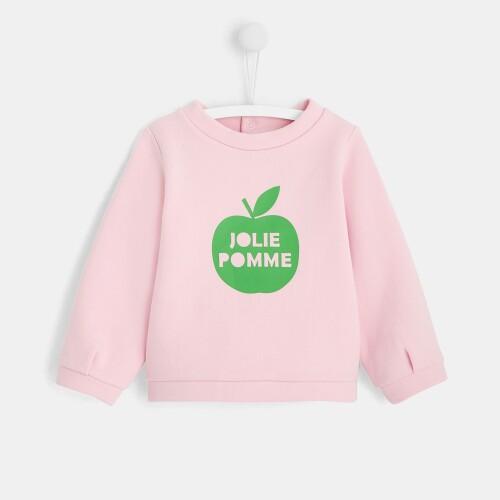 Toddler girl sweatshirt with apple motif