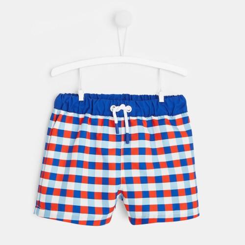Toddler boy checked swim shorts