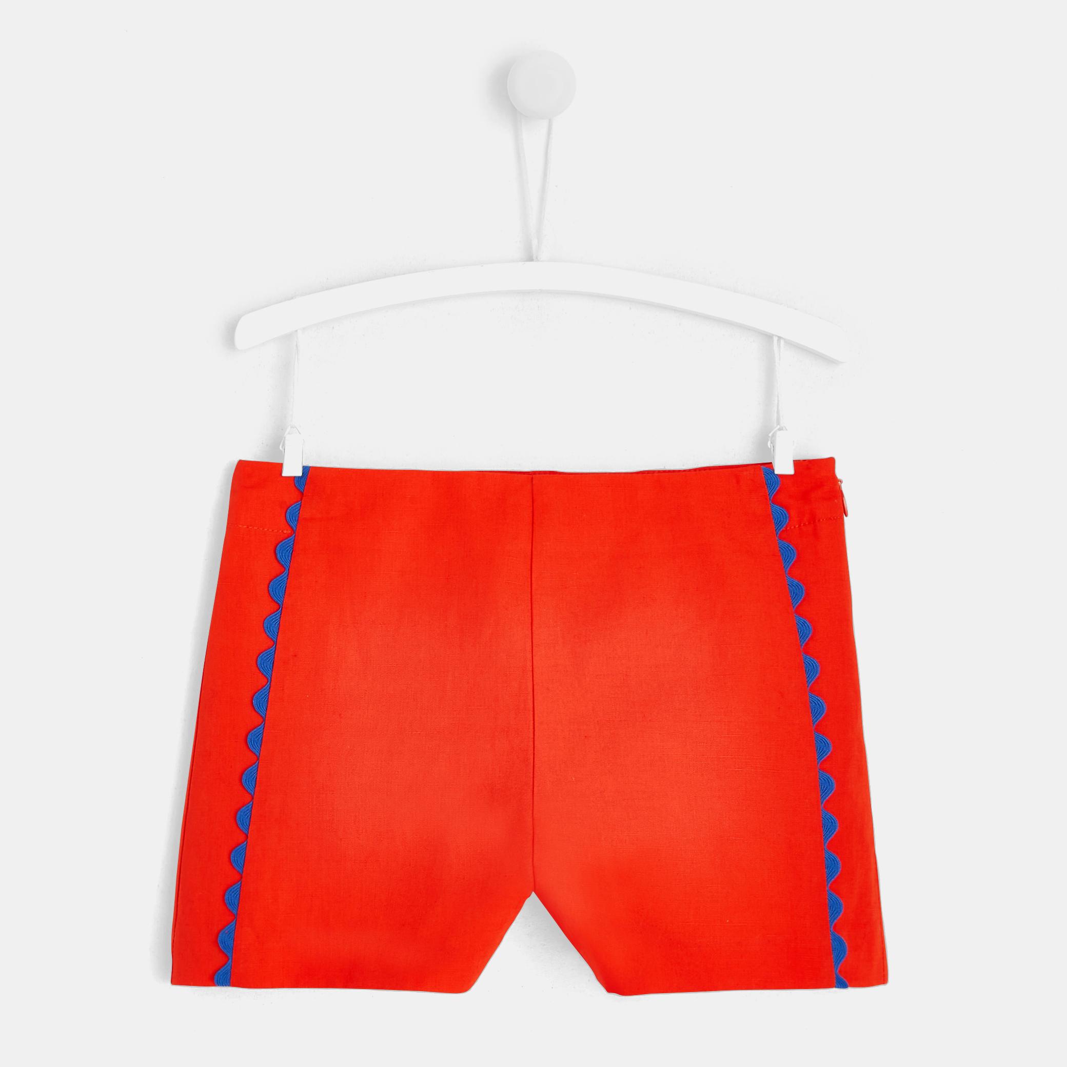 Girl shorts with braided hem